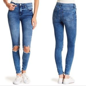 Free People Busted Knee High Rise Skinny Jeans